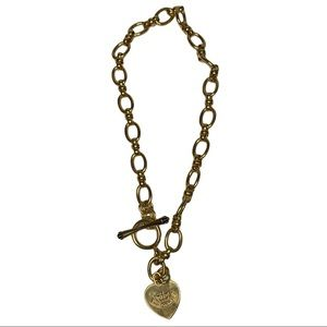 Juicy Couture Y2k Gold Heart Toggle Choker